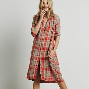 Free People x CP Shades Doublecloth Plaid Tunic